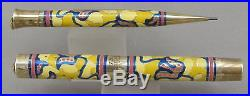 Rare Sheaffer's Gold Hand Painted Yellow Fountain Pen & Pencil In Box c. 1929