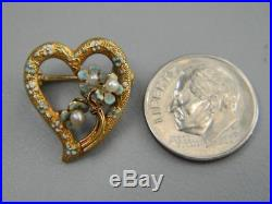 Rare Victorian 14K Yellow Gold Hand-painted Enamel & Floral Seed Pearl Heart Pin