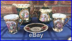 Royal Vienna Hand Painted Tea Serving Set withraised Gold Trim, Marked