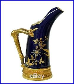 Royal Worcester Early Hand Painted Gold Butterfly Bird Cobalt Porcelain Pitcher