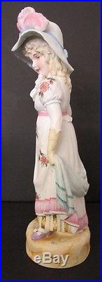 STUNNING C. 1900 PAIR OF LARGE HANDPAINTED FRENCH BISQUE FIGURINES With GOLD