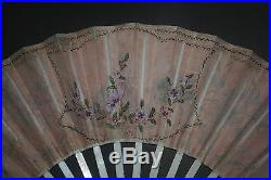 Superb Antique 18th French Gold Gilt Sticks Hand Painted Figural Scene Silk Fan