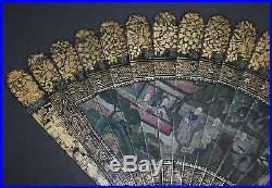 Superb Rare Antique Chinese Gold Lacquer Hand Painted Figural Scene Brise Fan