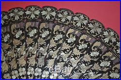 SUPERB RARE ANTIQUE CHINESE HAND PAINTED GOLD LAQUER BRISE FAN BATS BUTTERFLY