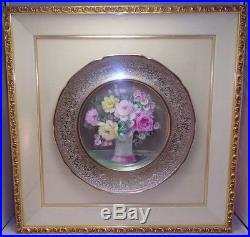 Set Of 2 Pickard Artist A. Rhodes Hand Painted Framed Plates Gold Embossed