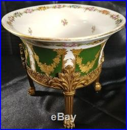Sevres style Cachepot Bronze mounted Porcelain heavy gold hand painted Florals