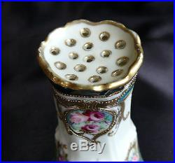 Signed Antique Nippon Hand Painted Hatpin Holder Raised Gold