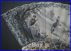 Superb Antique French 18th Gold Inlay Mother Of Pearl Hand Painted Scene Fan