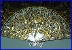 Superb Antique French Carved Mother Pearl Gold Inlay Hand Painted Scene Fan