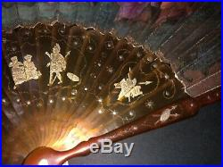 Superb Early 18th Gold Pique Inlay Horn Hand Painted Mythological Scene Fan