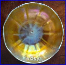 TIFFANY Gold FAVRILE Art Glass 1894 Old Large Bowl rare witha rare stand