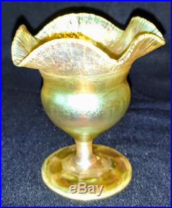 Tiffany LCT Favrile Gold Lots of Iridescent Compote-Vase signed rare old 1894