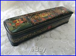 Top-quality, Papier Mache Handpainted with 24K Gold Russian Palekh Lacquer Box