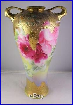 Unmarked Nippon Antique Japanese Porcelain Hand Painted Vase Heavy Gold