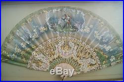 VICTORIAN HAND PAINTED DETAILED FRENCH CARVED GOLD GILDED FAN ROMANCE COURTSHIP