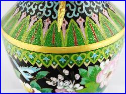 VINTAGE CHINESE CLOISONNE VASE With GOLD VERMEIL & DRAGON HANDLES, HAND DONE
