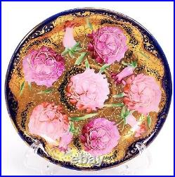 VINTAGE Nippon Hand Painted 3-PIECE Handled Cup SAUCER LID PINK ROSES GORGEOUS