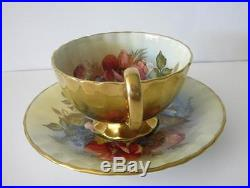 VTG AYNSLEY HANDPAINTED ROSE SIGNED BAILEY CUP & SAUCER GOLD OUTSIDE ENGLAND