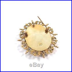 Victorian 14k Gold Hand Painted Portrait Strung Seed Pearls Brooch Pin Pendant