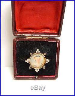 Victorian Brooch Diamond Pearl Hand Painted Miniature 15ct Gold