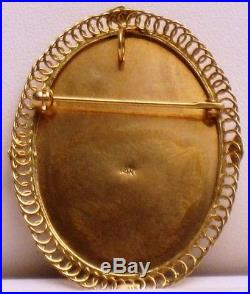 Vintage 14kt YG Hand Painted Portrait Cameo Pin/Pendant GAL Appraisal