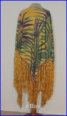 Vintage 1930's Hand Painted Piano Shawl / Made to Poncho Shawl Fits All