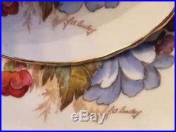 Vintage Aynsley Handpainted Roses&Poppies Cup & Saucer J. A. Bailey 1930s