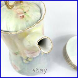 Vintage Hand Painted Chocolate Coffee Pot Set Roses and Butterflies Gold Signed