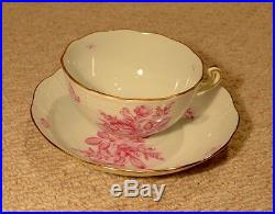 Vintage Herend 10 Piece Tea Set Hand Painted China Rose Gold Trim, Rare WithExtras