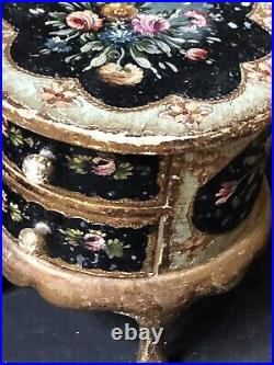 Vintage Italy GOLD BLUE Florentine FLORAL Antique JEWELRY BOX HAND PAINTED WOOD