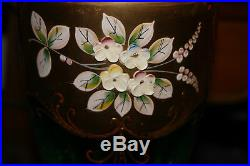 Vintage Moser Bohemian Czech Green Glass Vase Painted Flowers-Gold Color-#1