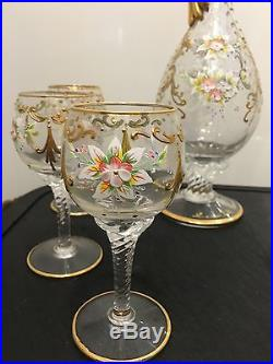 Vintage Murano Italian Hand Blown Gold Hand painted Decanter And 6 Wine Glasses