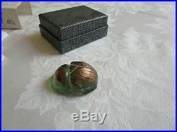 Vintage Rare Lalique Crystal Scarab Beetle Paperweight Figurine Green Gold NIB
