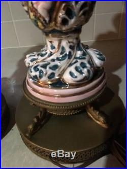 Vtg Pair Capodimonte Table Lamps SIGNED & Numbered Italian Hand Painted Pierced