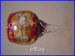 Wine Set of 6, Bohemian Red Glass with Gold and high enamel hand Painting